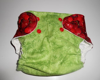 Small Green and Cherry Pocket Diaper