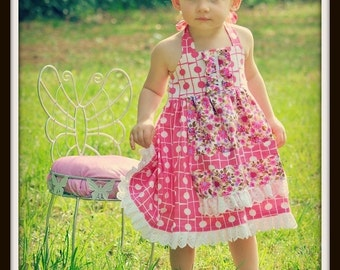 Girls Sewing Pattern Dress - pdf pattern - Apron Dress, INSTANT DOWNLOAD,12 months to 10 years of age