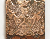 Vintage Fraternal Brotherhood Etched Copper and Medal Print Block Piece
