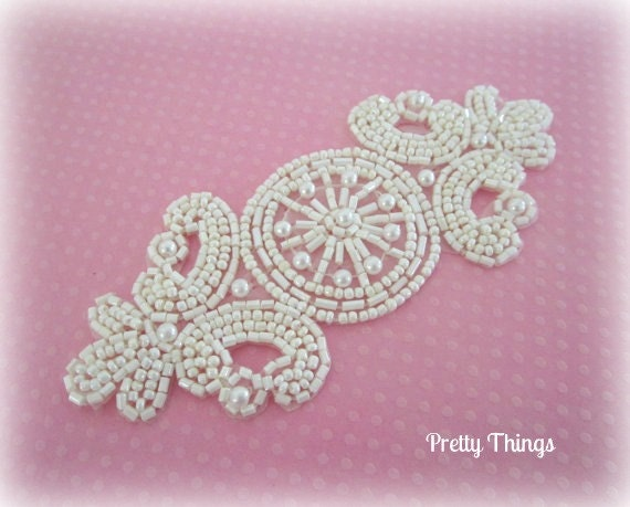 White Applique -- White Beaded Applique for Bridal, Formal, Dress up, Couture Wear