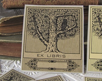 Owl Bookplate Stickers - Owl in tree - Ex Libris - Book Plate - Personal Library - Bookplates- gifts for book lovers