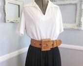 Reserved // 60s Black and White Dress // Vintage Pleated Skirt // Size Medium