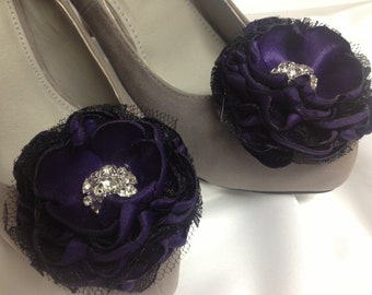 Dark Purple Flower Shoe Clips / Bridal Accessories / Set of 2.