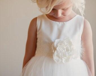 Flower girl dress - vintage - white - ivory - silk, flowergirl dress, silk flower girl dresses, tulle flower girl dress