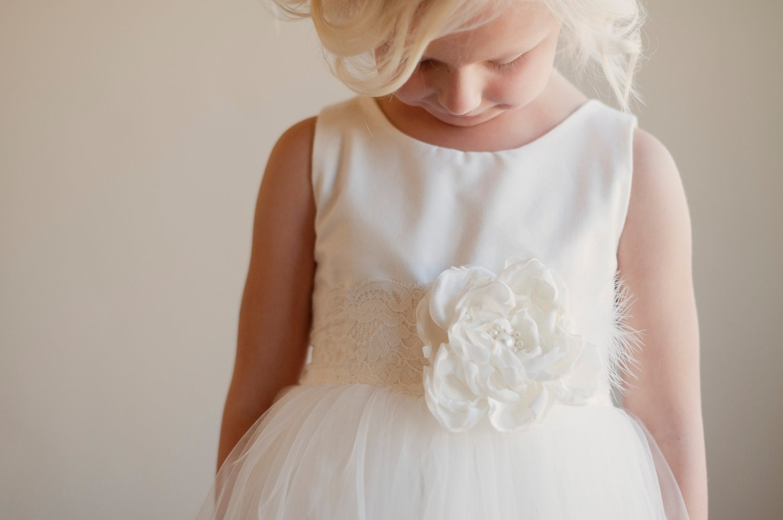 Flower girl dress vintage white ivory silk flowergirl