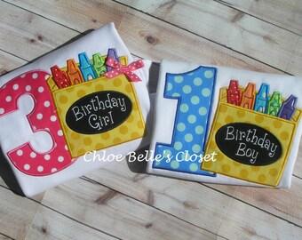 Crayon  Birthday Shirt for Boy or Girl