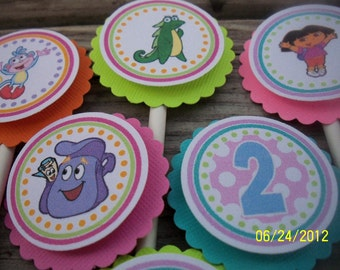Dora The Explorer Cupcake Toppers-Dora Cupcake Toppers-Dora Birthday Decoration-Dora Party Decoration-Dora Mini Cupcake Toppers-Dora Party
