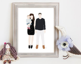 Though Very Humble : Custom Family of Three 8x10 Portrait Illustration