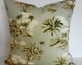 Tropical Throw Pillow Cover, Hawaiian Print, Ametex Designs, Palms Trees, Green, Olive Green, Cushion Cover