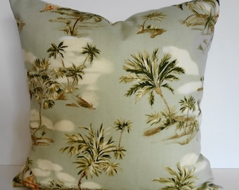 Tropical Throw Pillow Cover, Hawaiian Print, Ametex Designs, Palms Trees, Green, Olive Green, Cushion Cover, 18 x 18