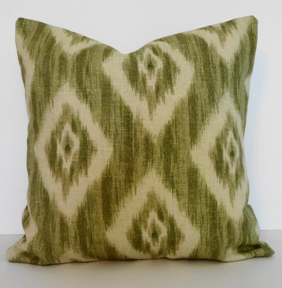 IKAT Linen Decorative Pillow Cover Green Olive by pillows4fun