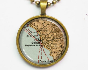 Lima Necklace - Lima of Peru Map- Custom Vintage Map Series