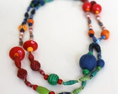 Long paper & wooden bead necklace - Red, Orange, Blue, Green - Handmade paper beads, chunky wooden beads