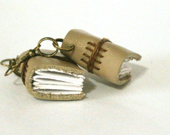 Leather Book Earrings, Taupe Tiny Handbound Journal Earrings by The Orange Windmill