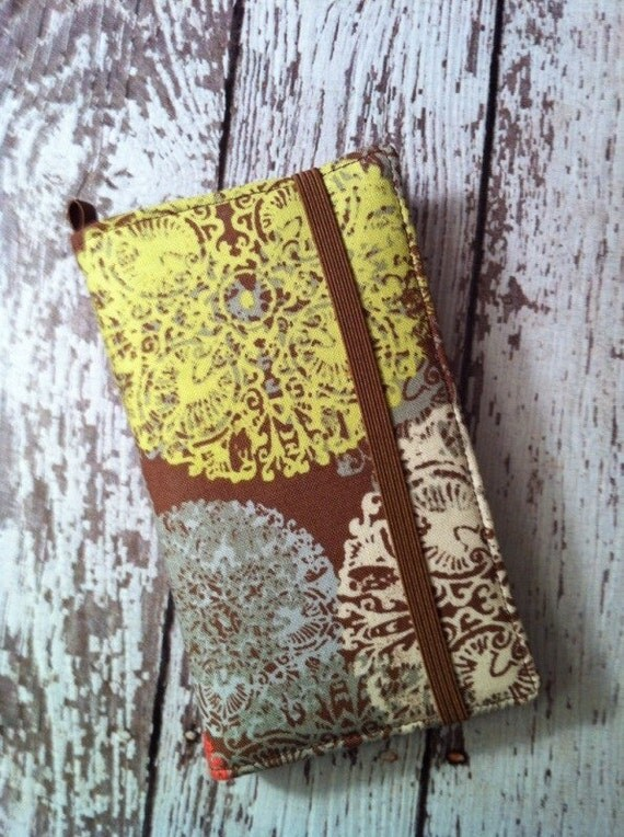 HTC Evo, Desire, Inspire, Thunder Bolt, and Droid brown with muted pastel medallions wallet with removable gel case