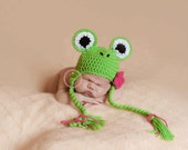 Crochet Frog Hat - Cute Lil' Frog with Earflaps and Tassels and Removeable Flower