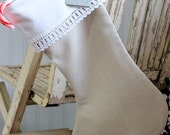 Christmas Stocking Flax Linen with antique vintage lining and lace cuff