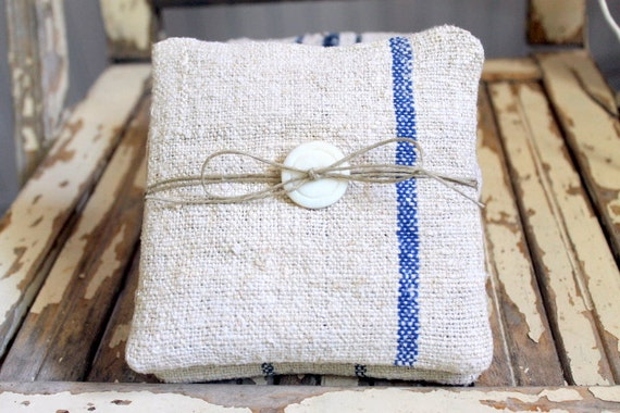 Lavender Sachets Set of 2 Blue Striped Grain Sack