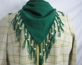 Beaded Triangle  Bandanna Fringed Scarf Kelly Green Handmade PRICE REDUCED for the Holidays
