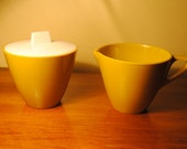 Mustard Yellow Allied Chemical Sugar and Cream Set