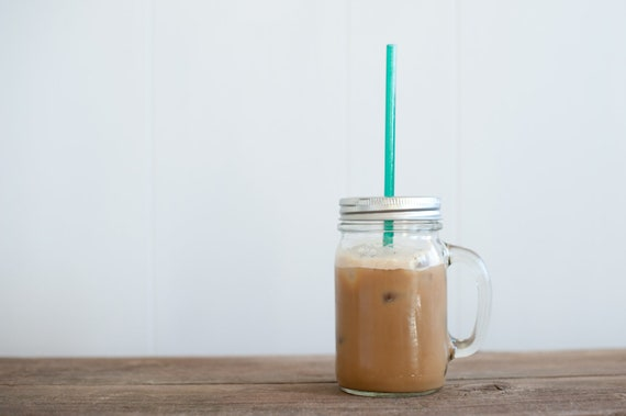 Mason Jar with Handle - Eco Friendly Tumbler - ReUsable To-Go Cup and Straw with Handle