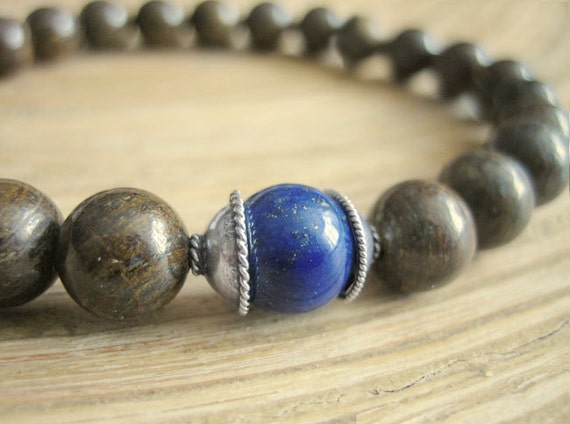 Mens Mala Bracelet - Lapis Lazuli with Silver and Bronzite Beads, Blue and Brown Mens Semi Precious Stone Yoga Bracelet
