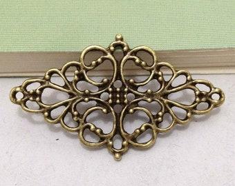 10pcs Antique Bronze Filigree Flower Focal Connector Charm for Necklace Pendants 26x46mm E405-5