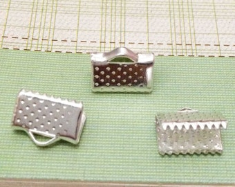 50pcs 6mm Silver Plated Leather Fastener Clasp Crimp Bead