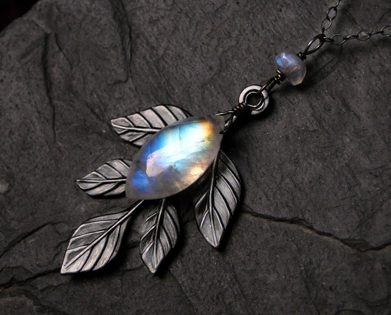 Moonstone Necklace with Leaf Accent on Oxidized Sterling Silver - Elvendar by Inkin on Etsy