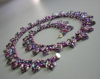 Tutorial - Enchanted leaves necklace - Superduo and Swarovski bicones beading tutorial
