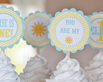 12 You Are My Sunshine Little Miss Sunshine Theme Birthday Yellow Blue Chevron Cupcake or Cake Toppers - Ask About our Party Pack Sale