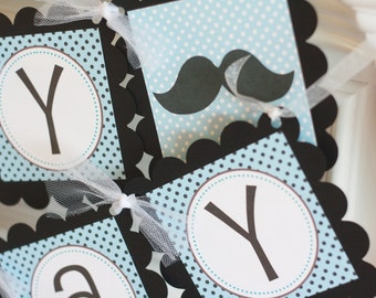 "Mustache Bash Happy Birthday Blue Black Polka Dot ""Little Man"" or ""Happy Birthday"" Banner - Ask About our Party Pack Special"