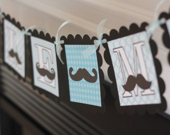 """Blue Black Baby Shower """"Little Man"""" or """"It's a Boy"""" Mustache Bash Banner - Ask About our Party Pack Special"""