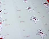 Christmas Gift Tag Labels - Polar Bear Holiday Stickers (15 Stickers)