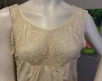 Vintage Crocheted Lace Yoke Slip Dress Rose Pattern Under Garment Victorian Edwardian Off white Ecru Corset
