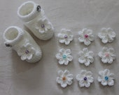 NB to 9M Hand Knitted Mary-Jane style bootie shoe with Crocheted flower and bead
