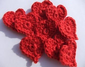 Crochet Appliqué Small Red Heart Embellishments (9 pieces) - Made to Order