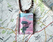 Japanese Stamp Necklace - Postage Stamp Pendant - Cherry Blossom and Shrine