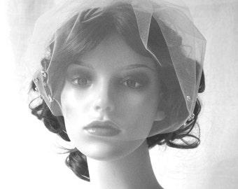 Couture birdcage veil, face veil with Swarovski crystals - Sparkle