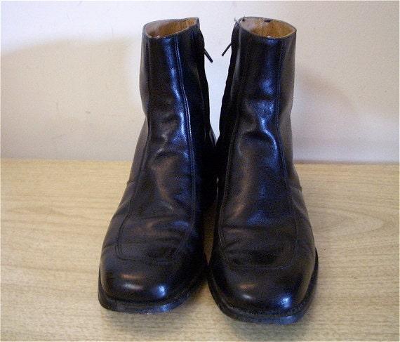 70s Mens Ankle Zipper Vintage Beatle Boots MOD Size 9.5
