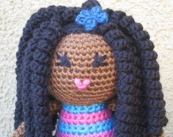 CROCHET PATTERN - African Curly Haired Doll Plush Amigurumi Locks Dreads Natural Black Hair Stuffed Toy Baby Girl tutorial PDF