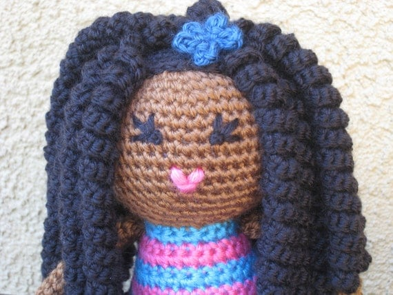Amigurumi Curly Hair Tutorial : CROCHET PATTERN African Curly Haired Doll Plush by ...