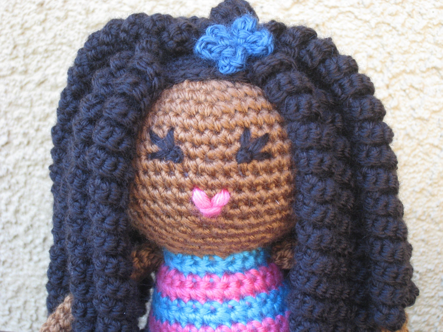 Crochet Hair On Dolls : CROCHET PATTERN African Curly Haired Doll Plush by LeenGreenBean