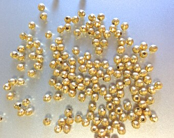 vermeil gold round mirror bead 3mm, set of 25 pieces