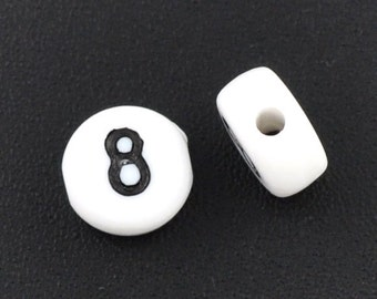 Number Beads Number 8 Black and White 7mm flat STORE CLOSING DESTASH