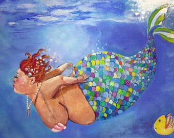 "Peg Mermaid Art print bbw 8""x10"""