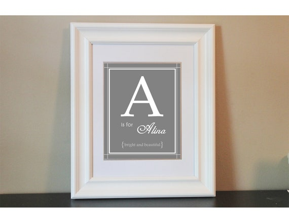 Baby Nursery Name Art Girl- 8x10 Personalized Print