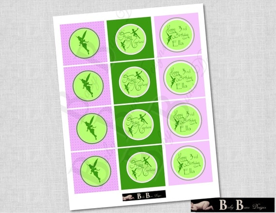 Fairy Neverland Birthday Party Tags/Cupcake Toppers/Stickers- Printable or Shipped