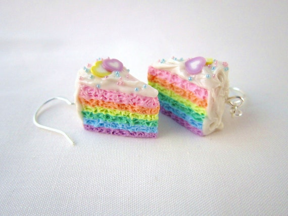 NEW Kawaii Pastel Rainbow Cake Polymer Clay Dangle Earrings