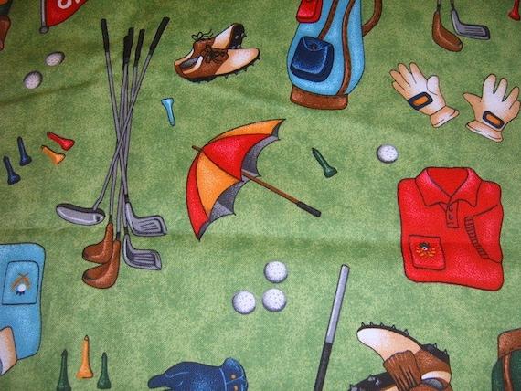 Golf Theme Fabric Yardage Sewing Supplies Cotton Fabric